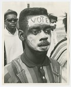 """view Photographic print of a man with """"Vote"""" face paint in the Selma-Montgomery march digital asset number 1"""