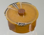 view Bakelite powder box lid from dresser set owned by Lena Horne digital asset number 1