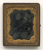 view Ambrotype of Qualls Tibbs, 5th Sergeant, 27th U.S.C.T., Camp Delaware, Ohio digital asset number 1