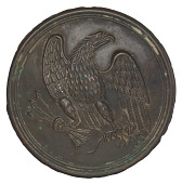 view Plate with a stamped brass eagle design from a cartridge box belt digital asset number 1