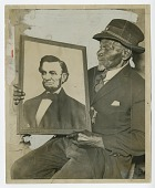 view Photograph of James Brown, Civil War veteran, with a picture of Abraham Lincoln digital asset number 1