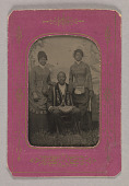 view Tintype photograph of a man identified as James Turner, with two women digital asset number 1