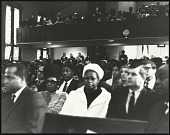 view <I>Mr Isaac Farris Sr., Dr. King's brother-in-law and Dr. Benjamin Elijah Mays, president of Morehouse College, seated in audience</I> digital asset number 1