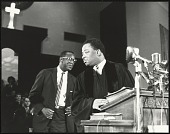 view <I>Rev. A.D. King, Dr. King's younger brother, at the pulpit inside Ebenezer Baptist</I> digital asset number 1