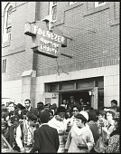 view <I>Crowd gathered outside of Ebenezer Baptist Church after the first birthday celebration of Dr. Martin Luther King, Jr.</I> digital asset number 1