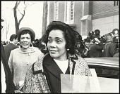 view <I>Coretta Scott King talking with the press after the first birthday celebration of Dr. Martin Luther King, Jr.</I> digital asset number 1
