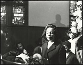 view <I>A somber Mrs. Coretta Scott King entering into Ebenezer Baptist Church</I> digital asset number 1
