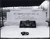 view <I>Wreath and eternal flame laid in front of Martin Luther King, Jr.'s tomb at Southview Cemetery</I> digital asset number 1