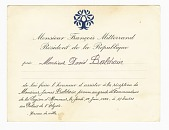 view Legion of Honour Reception Invitation to David Baldwin from François Mitterrand digital asset number 1