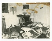 view Photograph of James Baldwin seated at his work table digital asset number 1