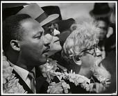 view <I>Martin Luther King, Jr. with flower lei and leading rabbis Maurice Eisendrath and Abraham Heschel</I> digital asset number 1
