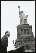 view <I>Singer Harry Belafonte, speaking at civil rights rally at Statue of Liberty</I> digital asset number 1