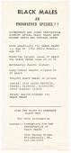 "view Flyer for June 24, 1978 conference ""African American Males Endangered Species"" digital asset number 1"