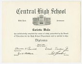 view Diploma for Carlotta Walls from Little Rock Central High School digital asset number 1