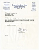 view Letter from US Representative Kenneth E. Bentsen, Jr. to Carl Lewis digital asset number 1