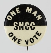 view Pinback button for SNCC's One Man One Vote campaign digital asset number 1