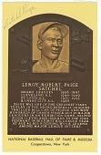 view Postcard of Satchel Paige Baseball Hall of Fame plaque digital asset number 1