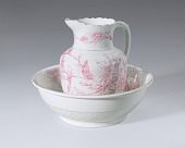 view White and pink pitcher and washbowl owned by members of the Ellis family digital asset number 1