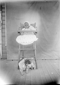 view Scan of a baby in a high chair with a dog beneath the chair digital asset number 1