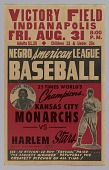 view Poster advertising a game between the Kansas City Monarchs and the Harlem Stars digital asset number 1
