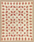view Cream and red appliqued quilted bedcover digital asset number 1