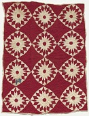 view Red and white pieced and appliqued star quilt digital asset number 1