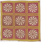 view Pink and yellow pinwheel quilt made by Elizabeth Salter Smith digital asset number 1