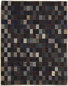 view Blue, black, gray, and brown bedcover made from suiting samples digital asset number 1