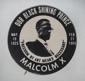 view Pinback button memorializing Malcolm X digital asset number 1