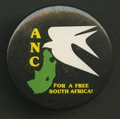 view Pinback button promoting the ANC and a free South Africa digital asset number 1