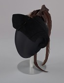 view Black cap with long brown feather plume from Mae's Millinery Shop digital asset number 1