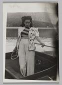 view Photograph of Birdie Warfield Edison standing in boat digital asset number 1