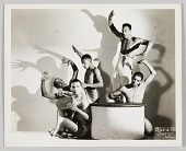 view Photograph of five male performers with drums digital asset number 1