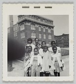 view Photographic print of women and children outside a building digital asset number 1