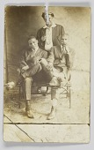 view Photographic postcard of three unidentified men digital asset number 1