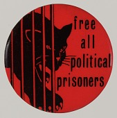 "view Pinback button with ""Free All Political Prisoners"" slogan digital asset number 1"