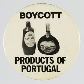 view Pinback button advocating for a boycott of Portuguese products digital asset number 1