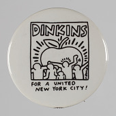 view Pinback button for David Dinkins mayoral campaign digital asset number 1