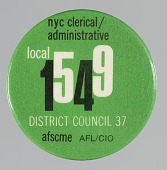 view Pinback button for the NYC Local 1549 Union digital asset number 1