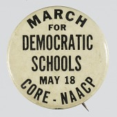 view Pinback button for a 1964 March for Democratic Schools digital asset number 1