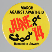 view Pinback button for a March Against Apartheid in New York City digital asset number 1