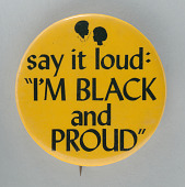 "view Pinback button with ""I'm Black and Proud"" slogan digital asset number 1"