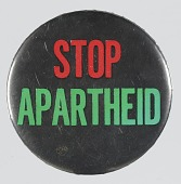 "view Pinback button with ""Stop Apartheid"" slogan digital asset number 1"