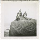view Digital image of Taylor family women posing on a boulder on Martha's Vineyard digital asset number 1