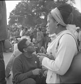 view <I>Dizzy Gillespie & woman with white scarf - Resurrection City, Wash, D.C. - 1968</I> digital asset number 1