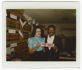view Digital image of Eddie Faye Gates with Don Ross holding a campaign sticker digital asset number 1