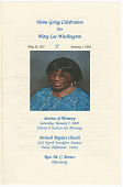 view Funeral program of Mary Lee Washington digital asset number 1