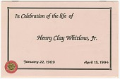 view Funeral program of Henry Clay Whitlow, Jr. digital asset number 1