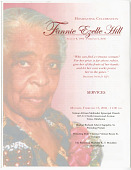 view Funeral program of Fannie Ezelle Hill with eulogy notes by Eddie Faye Gates digital asset number 1