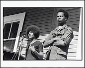view <I>Angela Davis Speaks at a Rally in DeFremery Park for George Jackson and the Other Soledad Brothers, Who Were on Trial for the Murder of a Guard at Soledad Prison. Next to Angela is Party Member James Burford, Oakland, California, 1970</I> digital asset number 1